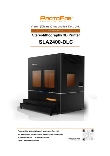 ProtoFab 3D printer SLA 2400 DLC specification