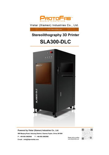 ProtoFab 3D printer SLA 300 DLC specification