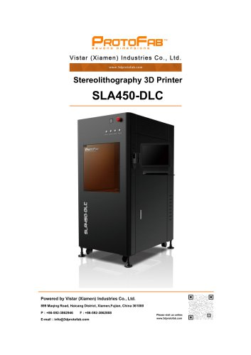 ProtoFab 3D printer SLA 450 DLC specification