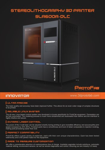 ProtoFab  3D printer SLA 600A DLC brochure