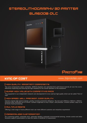ProtoFab  3D printer SLA 600B DLC  brochure