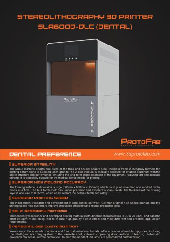 ProtoFab  3D printer SLA 600D DLC  brochure