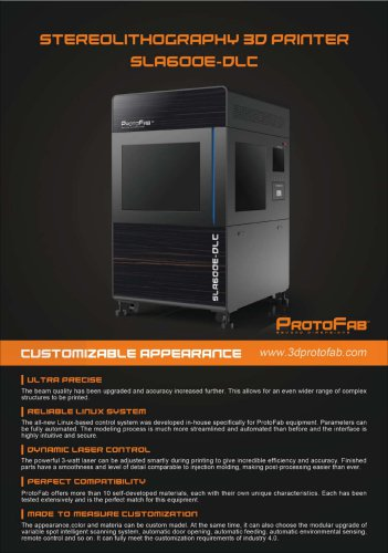 ProtoFab  3D printer SLA 600E DLC brochure