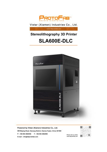 ProtoFab 3D printer SLA 600E DLC specification