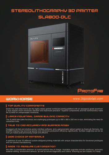 ProtoFab  3D printer SLA 800 DLC brochure