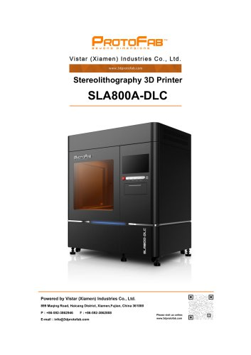 ProtoFab 3D printer SLA 800A DLC specification