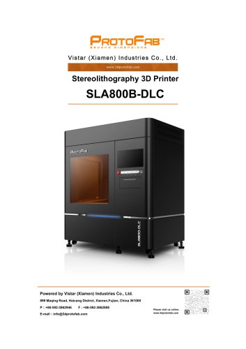 ProtoFab 3D printer SLA 800B DLC specification