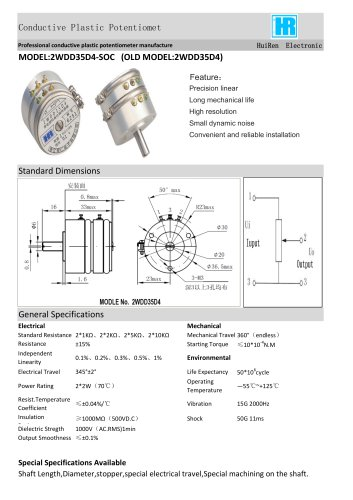 ANGULAR DISPLACEMENT SENSOR / POTENTIOMETER-2WDD35D4