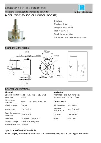 ANGULAR DISPLACEMENT SENSOR / POTENTIOMETER / HIGH-RESOLUTION / PRECISION-WDD32Z