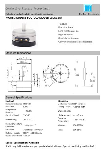 ANGULAR DISPLACEMENT SENSOR / POTENTIOMETER / HIGH-RESOLUTION / PRECISION-WDD35A