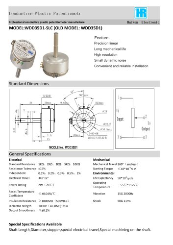 ANGULAR DISPLACEMENT SENSOR / POTENTIOMETER / HIGH-RESOLUTION / PRECISION-WDD35D1