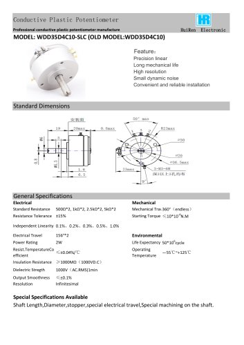 ANGULAR DISPLACEMENT SENSOR / POTENTIOMETER / HIGH-RESOLUTION / PRECISION-WDD35D1C10