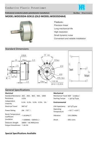 ANGULAR DISPLACEMENT SENSOR / POTENTIOMETER / HIGH-RESOLUTION / PRECISION-WDD35D4A4