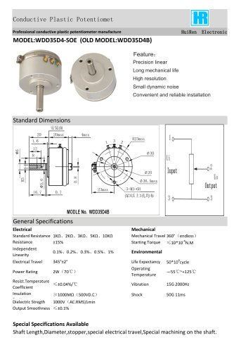 ANGULAR DISPLACEMENT SENSOR / POTENTIOMETER / HIGH-RESOLUTION / PRECISION-WDD35D4B