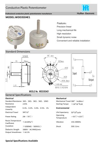 ANGULAR DISPLACEMENT SENSOR / POTENTIOMETER / HIGH-RESOLUTION / PRECISION-WDD35D4E1