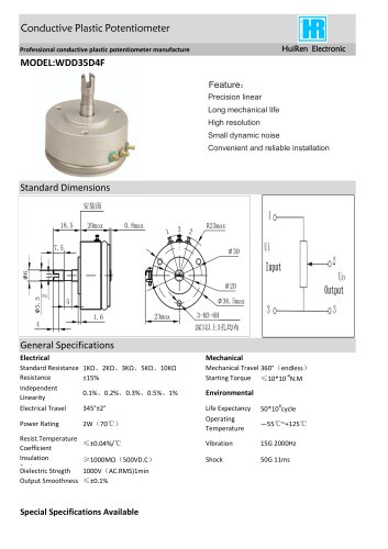 ANGULAR DISPLACEMENT SENSOR / POTENTIOMETER / HIGH-RESOLUTION / PRECISION-WDD35D4F
