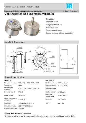 ANGULAR DISPLACEMENT SENSOR / POTENTIOMETER / HIGH-RESOLUTION / PRECISION-WDD35D4G