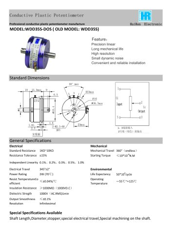 ANGULAR DISPLACEMENT SENSOR / POTENTIOMETER / HIGH-RESOLUTION / PRECISION-WDD35S