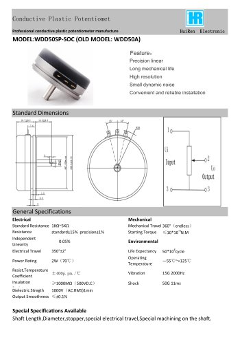 ANGULAR DISPLACEMENT SENSOR / POTENTIOMETER / HIGH-RESOLUTION / PRECISION-WDD50A