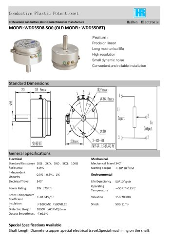 ANGULAR DISPLACEMENT SENSOR / POTENTIOMETER / PRECISION / HIGH-RESOLUTION-WDD35D8T