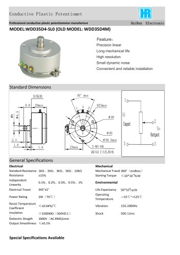 ANGULAR DISPLACEMENT SENSOR / POTENTIOMETER / PRECISION-WDD35D4M
