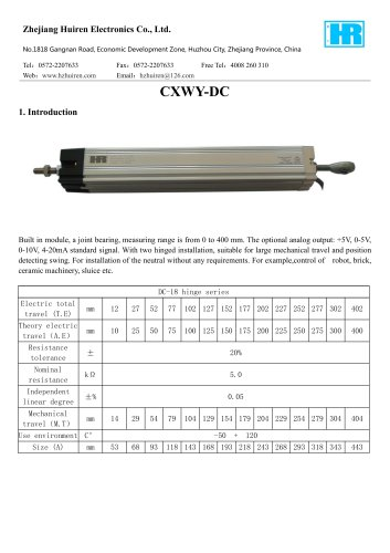 LINEAR DISPLACEMENT TRANSDUCER / POTENTIOMETER / WITH ANALOG OUTPUT-CXWY-DC