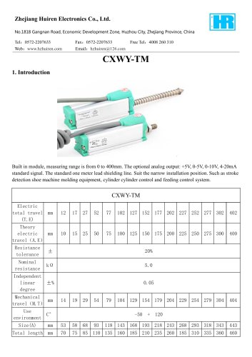 LINEAR DISPLACEMENT TRANSDUCER / POTENTIOMETER / WITH ANALOG OUTPUT-CXWY-TM