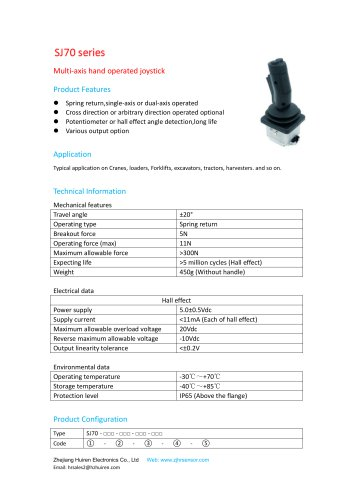 MULTI-AXIS JOYSTICK / SINGLE-AXIS / 2-AXIS / HALL EFFECT-SJ70
