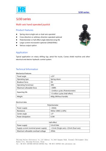 SINGLE-AXIS JOYSTICK / 2-AXIS / HALL EFFECT / POTENTIOMETER-SJ30
