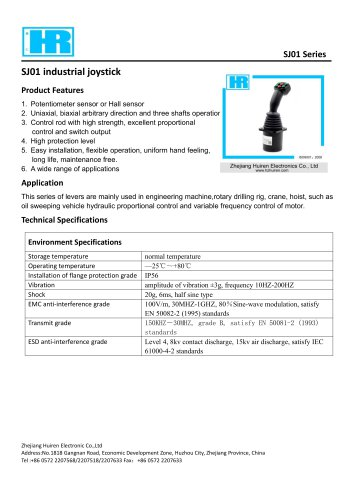 SJ100-MULTI-AXIS JOYSTICK / SINGLE-AXIS / 2-AXIS / HALL EFFECT