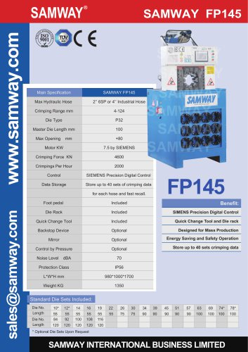 SAMWAY FP145  Hydraulic Hose  Crimping Machine