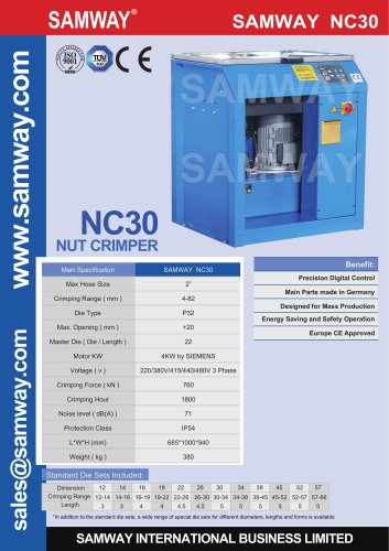 SAMWAY NC30  Hydraulic Hose Crimping Machine