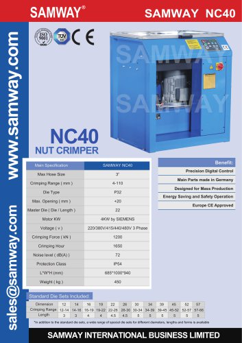 SAMWAY NC40  Hydraulic Hose Crimping Machine