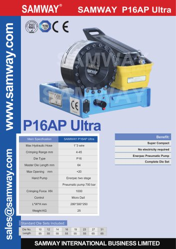 SAMWAY P16AP Ultra  Hydraulic Hose Crimping Machine