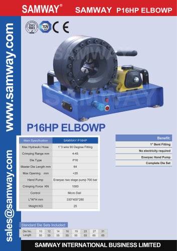 SAMWAY P16HP  ELBOW  Hydraulic Hose Crimping Machine