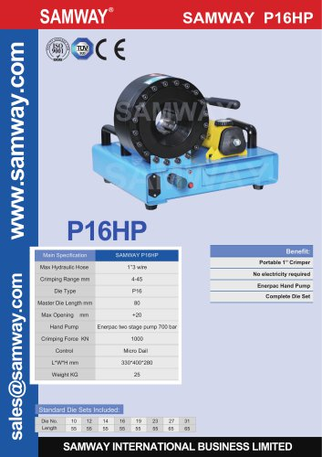 SAMWAY P16HP  Hydraulic Hose Crimping Machine