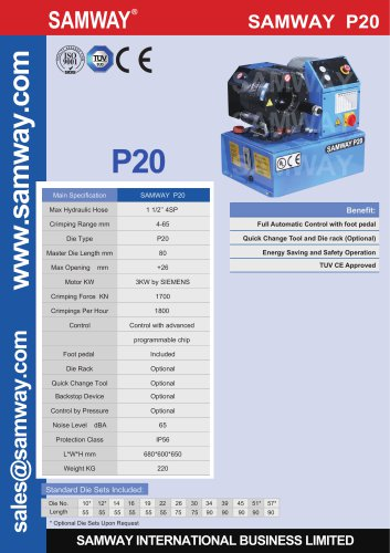 SAMWAY P20 Hydraulic Hose Crimping Machine