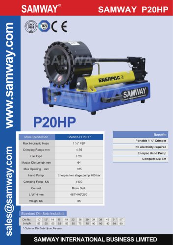 SAMWAY P20HP  Hydraulic Hose Crimping Machine