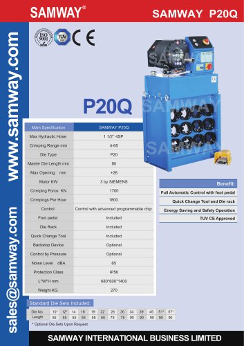 SAMWAY P20Q  Hydraulic Hose Crimping Machine