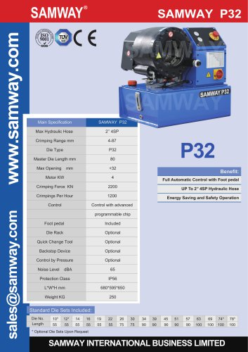 SAMWAY P32 Hydraulic Hose Crimping Machine