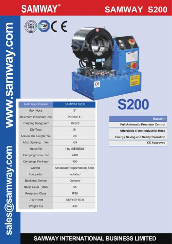 SAMWAY S200  Hydraulic Hose Crimping Machine