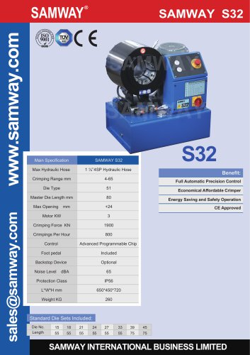 SAMWAY S32  Hydraulic Hose Crimping Machine
