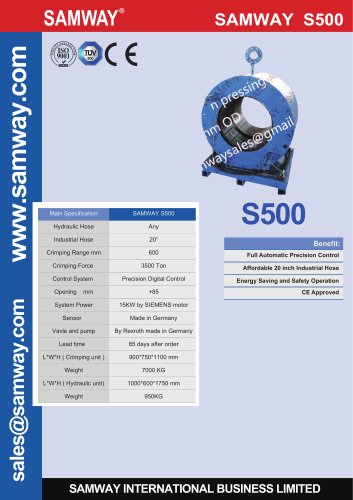 "SAMWAY SAMWAY S500 20"" Industrial Hose Crimping Machine"
