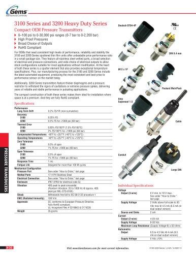 3100/3200 Series Thin Film Pressure Transducers - GEMS SENSORS & CONTROLS -  PDF Catalogs | Technical Documentation | Brochure | Gem Sensors Wiring Diagrams |  | Catalogs Directindustry