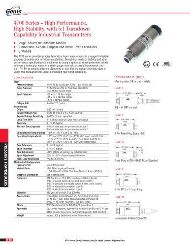 4700 Series Sputtered Thin Film Pressure Transducer