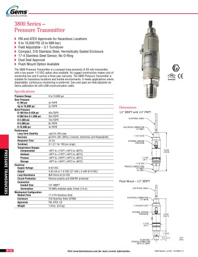 Gems Model 3800 | Hazardous Area OEM Pressure Transmitter