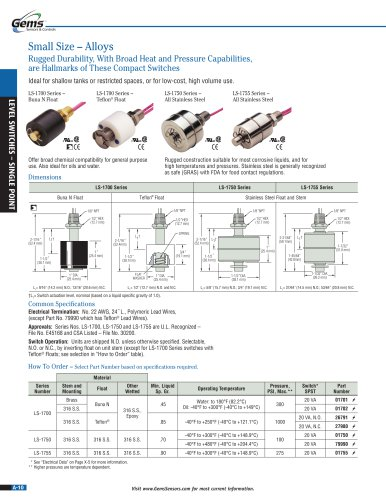 LS-1700 Series Single-Point Level Switch