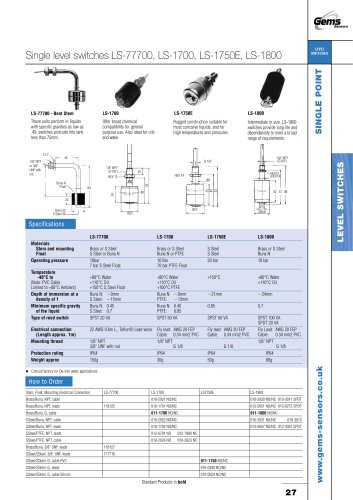 LS-77700 Series Single-Point Level Switch