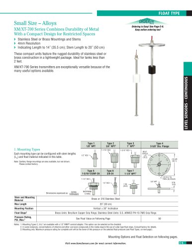 XM-XT 700 Series Continuous Level Transmitter