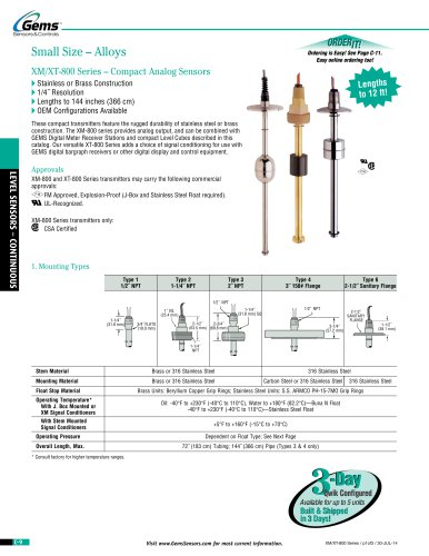 XM-XT 800 Series Small Size Continuous Level Transmitter